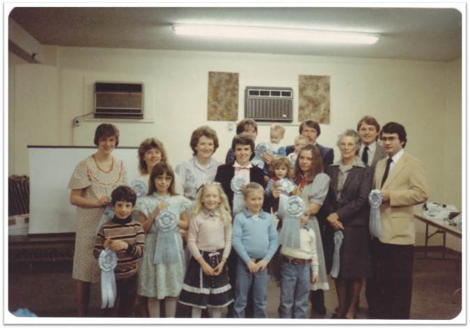 Branch Bday Party March 1984 ribbons for firsts