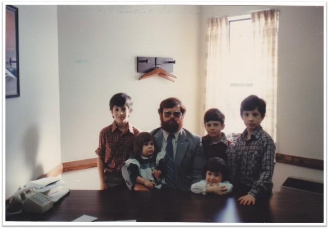 Pat Bishop and Kids in bishop's office